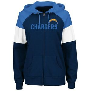 Los Angeles Chargers Women's Hot Route Full Zip Hoody Sweatshirt by Majestic