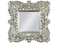 Espejo de Pared Marco 100x100 Cuadrado barroco en Plata Adornos woe