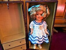 """Early Shirley Temple 15"""",Stand Up & Cheer Dress W/Rare Size Suitcase PRICE DROP!"""