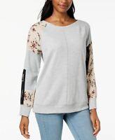 Style Co Patchwork-Sleeve Sweatshirt Heather Grey XL