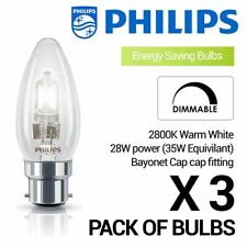 3 X Philips 28w (35w) B22 Bayonet Cap Halogen Candle Bulb Warm White Dimmable
