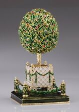 Faberge Egg with flower  & music by Keren Kopal trinket box Austrian crystals