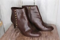 Coach Brown Leather Ankle Heel 9.5 B Women's Boots