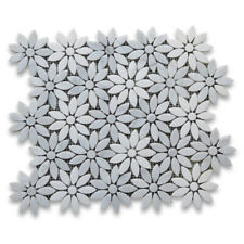 C9D1XH Carrara White Thassos Marble Daisy Flower Waterjet Mosaic Tile Honed
