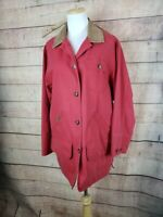 LL BEAN Womens M Red Barn Jacket w Brown Leather Collar