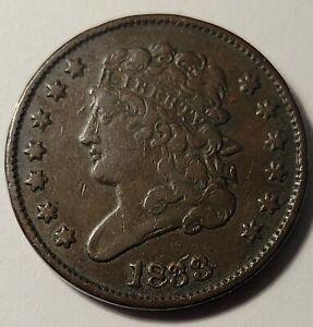 1833 CHOCOLATE BROWN HALF CENT, LOOKS HIGH GRADE, RARITY 4.6 SURVIVAL EST. 2000