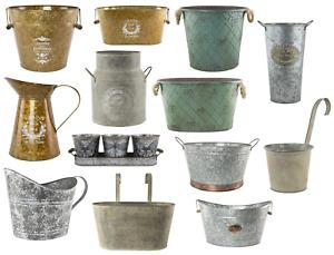Metal Plant Pots Vintage Milk Churn Bucket Hanging Flower Holder Tree Planters