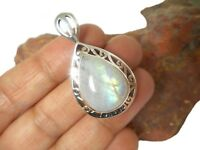 Fiery Teardrop  MOONSTONE  Sterling  Silver  925  Gemstone  PENDANT