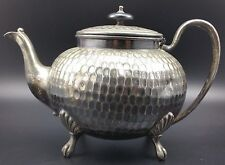 Victorian Silver Plated EPBM Britannia Metal Tea Pot, Dimpled Circular Design