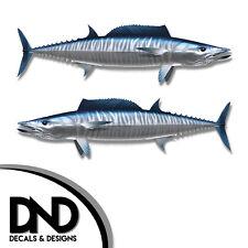 "Wahoo - Fish Decal Fishing Tackle Box Bumper Sticker ""3in SET"" F-1030 D&"