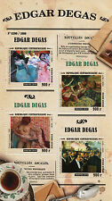 Central African Rep 2015 MNH Edgar Degas 4v MS Paintings Entrance Masked Dancers