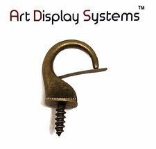 Art Display Systems Large Antique Brass Security Cup Hook–Pro Quality–10 Pack