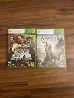 Microsoft XBOX 360 Games Lot Red Dead Redemption & Assassins Creed 3 W/ Manuals