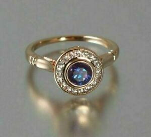 2Ct Round Cut Alexandrite Halo Women's Pretty Engagement Ring 14K Rose Gold Over