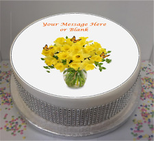 """Novelty Personalised Daffodils & Butterflies  7.5"""" Edible Icing Cake Topper"""
