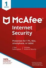 McAfee Internet Security 2017/2018 1 Year 1 User PC Anti Virus Software RRP £20