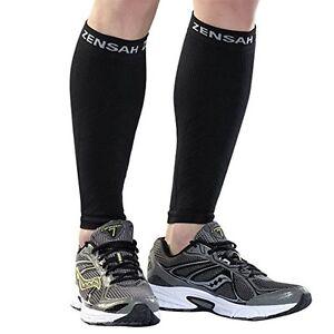 Zensah Leg Sleeves, Shin Splint Running Compression Calf Sleeves - Black (Pair)