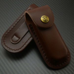 """5"""" Durable Real Leather Knife Sheath Portable Folding Pocket Knife Pouch Holster"""