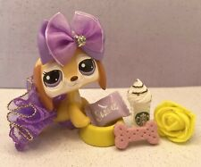 Authentic Littlest Pet Shop # 2529 Yellow White Brown Dachshund Purple Eyes Htf
