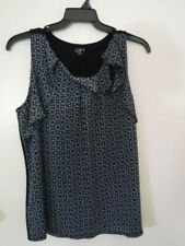 LOFT Women's Top Blouse T-Shirt Black Blue Sleeveless Size XL New Without Tags