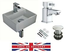 COMPACT SMALL CLOAKROOM SQUARE BASIN SINK WALL HUNG + FREE SQUARE TAP & WASTE