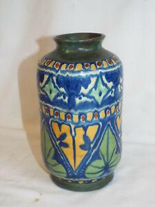 """Antique JAS Plant handpainted Gouda vase,7"""" high."""