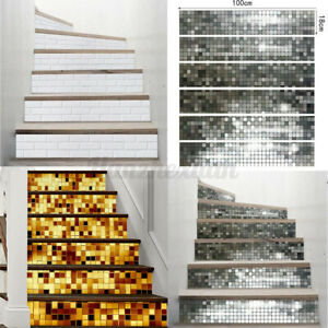 New 6Pcs Self Adhesive DIY Staircase Stickers Stair Wall Mural Wallpaper