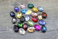36pcs 14x10mm oval rhinestone crystal cabochons point back cut glass you pick