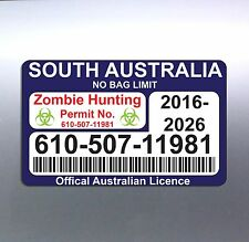 Zombie Hunting Permit 80 x 130 mm South Australia licence car rego sticker vinyl