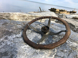 "Antique Wood Boat Car Steering Wheel 17"" Dovetailed Finger Holds Horn"