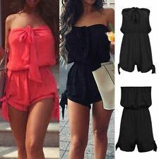 Womens Holiday Playsuit Romper Ladies Jumpsuit Summer Beach Dress Mini Shorts UK