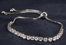18K White Gold Tennis Bracelet made w/ Authentic Swarovski Crystal Stone Trendy