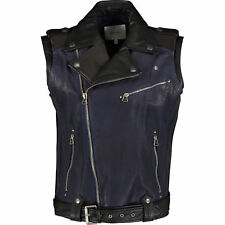 BALMAIN Black & Navy Sleeveless Biker Leather Jacket IT50 L Gilet UK40
