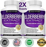 Premium Elderberry Immune System Booster 1200 MG Capsules Sambucas NON GMO