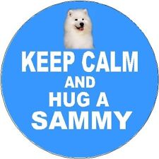 2 Samoyed Dog Car Stickers (Keep Calm & Hug) By Starprint