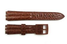 18mm Men's Padded Brown Leather Replacement Band Strap fits SWATCH watches
