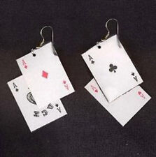 Funky ACES PLAYING CARDS EARRINGS Punk Poker Game Casino Costume Jewelry
