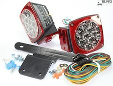 Submersible Red Stop Tail Trailer Boat LED Light w Kit & Illuminator Stud Mount