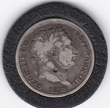 1817   King  George  III   Sterling  Silver  Shilling  British Coin