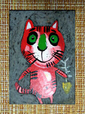 ACEO original pastel painting outsider folk art brut #010521 surreal funny cat