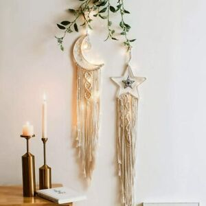 Macrame Woven Dream Catcher Wall Hanging Boho Tapestry Home Ornament Moon & Star