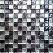 Quality Glass Mosaic Wall Tiles Black Silver Foil (300x300mm) GTR10004 SHEET