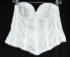 Intimate Wishes White Floral Lace Boned Underwire Strapless Bridal Bustier 38B