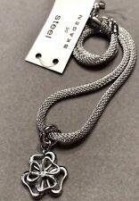 Skagen Steel & Crystal Floral Mesh Wrap Bracelet-NWT