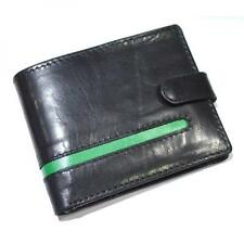 GREEN Stripe Leather Wallet Button Coin Purse Credit Card Holder Present GIFT