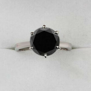 925 Sterling Silver & 4.45Ct AA Natural Earthmined Black Diamond Solitaire Ring