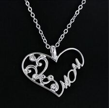 """12ct White Gold Plated Diamante """"Mom"""" Heart Shaped Chain/Necklace & Pendant Set"""
