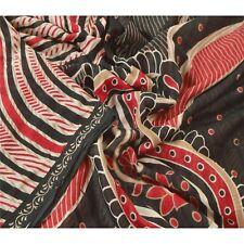 Sanskriti Vintage Cream Saree 100% Pure Cotton Printed Sari Craft Decor Fabric