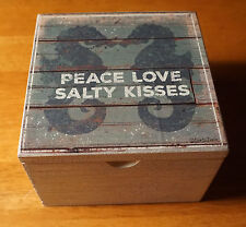 PEACE LOVE SALTY KISSES SEAHORSE Coastal Beach Home Decor Seashell Box Sign NEW