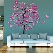 Wandtattoo DEKO Wandsticker Wanddesign Wandaufkleber Herz Baum liebe Pink #1